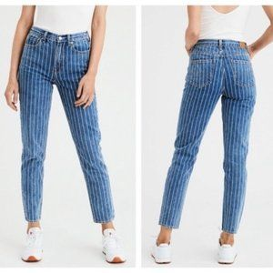 American Eagle High Rise Striped Mom Jeans Size 4
